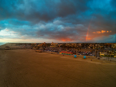 Rainbow over downtown Huntington Beach