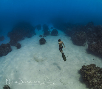 Freediver over Caribbean sands.