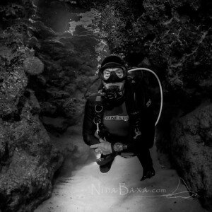 Diver R.Wood in an underwater canyon - Grand Cayman.