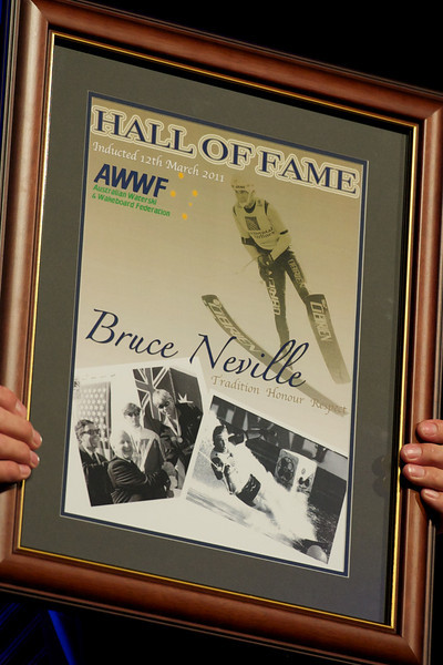 Bruce Neville<br /> <br />     * Competed in seven World Championships from 1998 to 2001, winning a bronze in both overall and jump in 1989, and gold medals in jumping in 1991 and 1995.<br />     * Three times U.S. Masters Jump Champion<br />     * Awarded IWSF Special Award for Sportsmanship in 1998<br />     * Set three World jump records, holding the record for a full two years from 1995 to 1997<br />     * Moomba Masters – five times overall and three times jumping champion