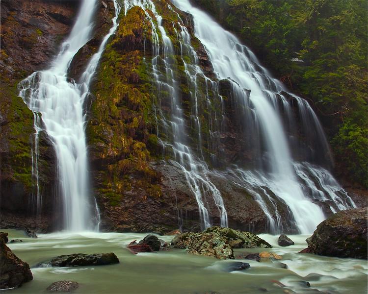 Boulder River Falls in the rain, Mount Baker-Snoqualmie National Forest.