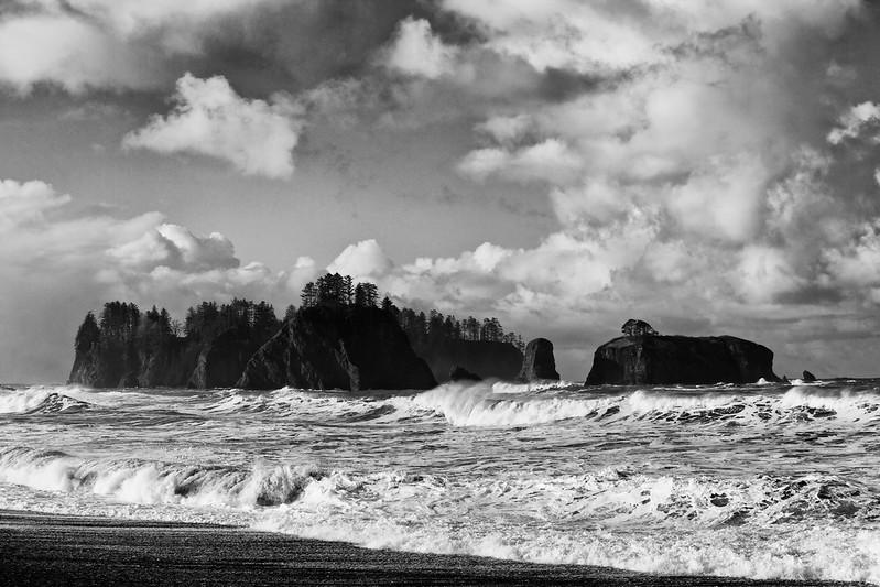 James Island and Little James Island seen from Rialto Beach, Washington