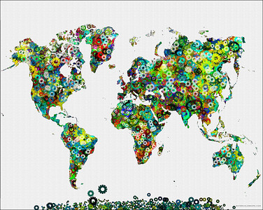 world map, map of the world, gears map