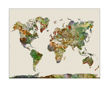 watercolor world map, map of the world