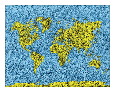 World map, map of the word with music notes
