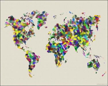 world map, map of the world, fingerprints