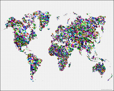 watercolormap of the world, world butterfly map