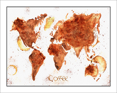 world map, map of the world done in coffe stains