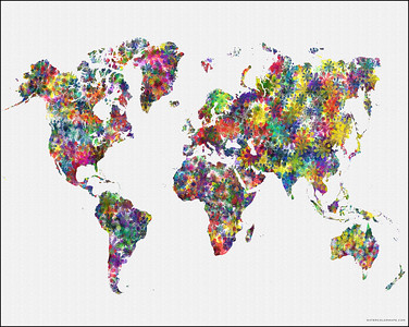 world map, map of the world as flowers