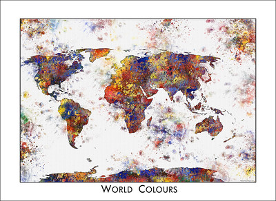 world map as watercolor, world colours