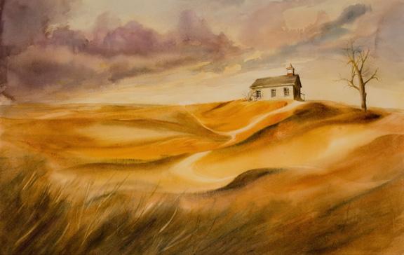"Prairie Storm<br /> image 14"" 22""<br /> #0202<br /> SOLD"