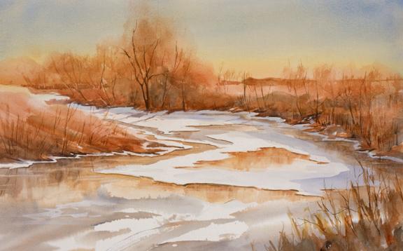 """Riverlands - Winter<br /> 13"""" x 21""""<br /> #1347"""