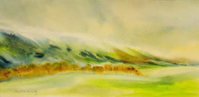 """Fog on South Mountain<br /> image 10"""" x 19""""<br /> SOLD<br /> #120"""