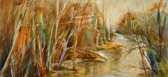 "The River Knows<br />  image 10"" x 22""<br />  #199<br /> SOLD"