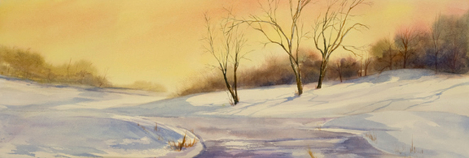 """Park in Winter<br />  image 10"""" x 28 1/2"""" <br /> #1240<br /> Sold"""