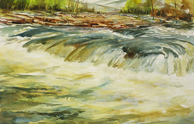 "Water Power - Ohiopyle Falls, the Youghiogheny River<br />  image 14"" x 22""<br /> #169 NFS"