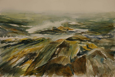 "Winds Blow Cold (Maine)<br />  image 14"" x 20""<br />  # 130<br /> SOLD"