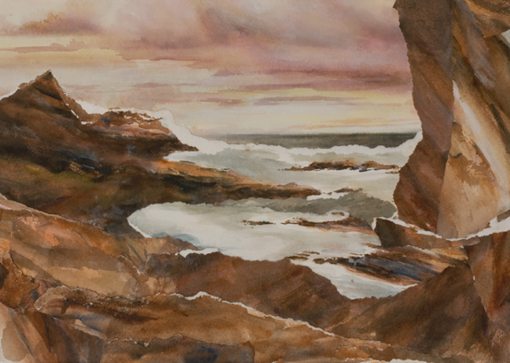 """High Tide<br /> 10 1/2"""" x 14 1/2""""<br /> Watercolor Collage<br /> #1281 SOLD"""