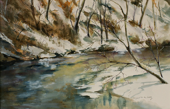 "Bend in Catoctin Creek (Frederick, Maryland)<br /> image 14"" x 22"" <br /> #139<br /> SOLD"