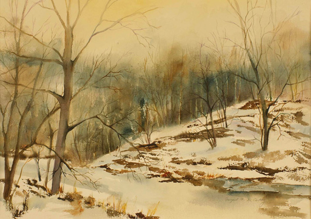 "Frozen Creek<br /> image 17"" x 24""<br /> #080<br /> SOLD"