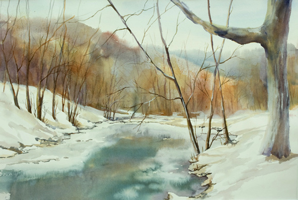 "Ice on the River<br /> 14"" x 21""<br /> #1376"