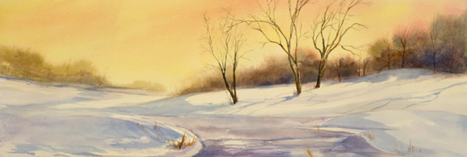 """Park in Winter<br /> image 10"""" x 28 1/2""""<br /> #1240<br /> SOLD"""