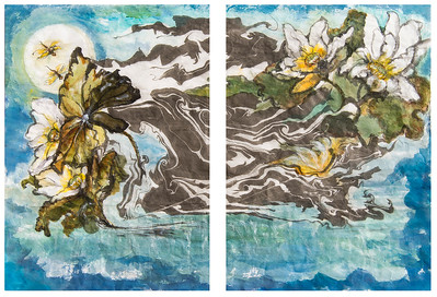 Dragonfly, Lotus flower and the Moon Diptych