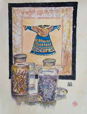 Chinese Kimono and Medicine Jars