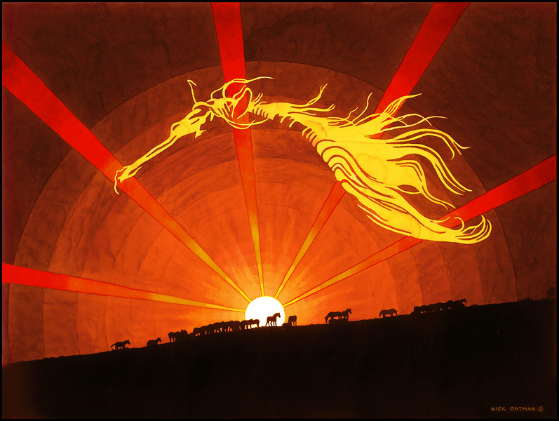 """Sunset Horses"" print"