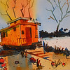 Yellow Caboose Study  11x15