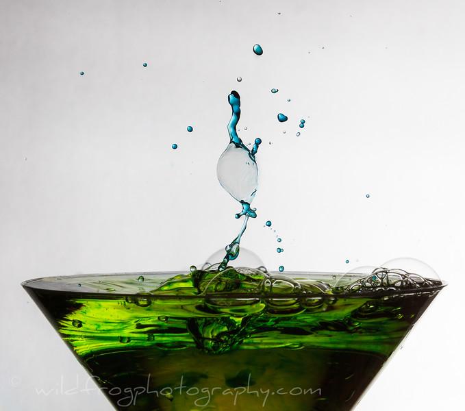 Martini glass Green splash/Blue