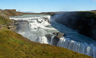Gullfoss. A huge double drop waterfall with 90 degree turn into the rift.