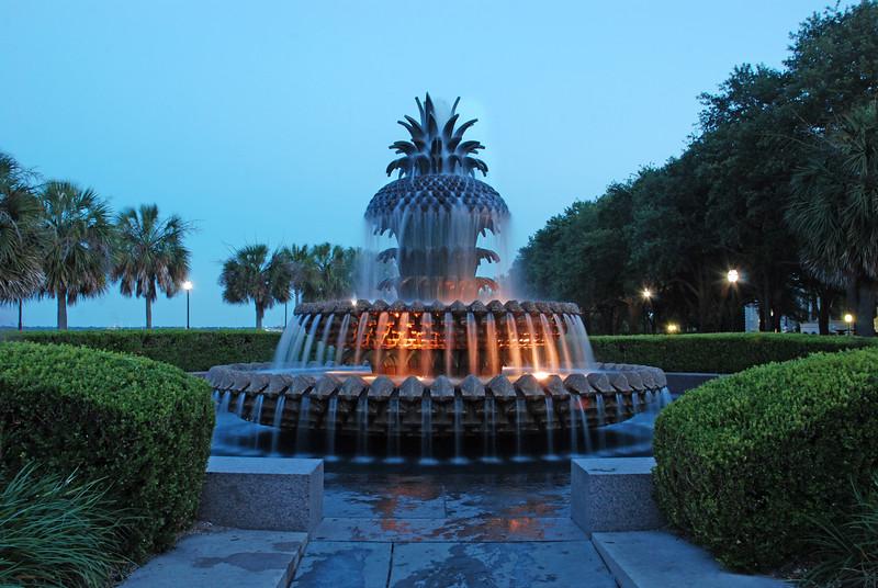 Pineapple Fountain at night-Charleston SC