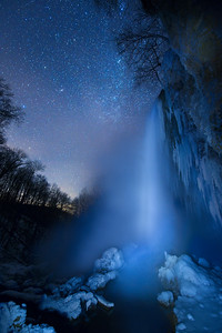 Falling Spring Falls at Night