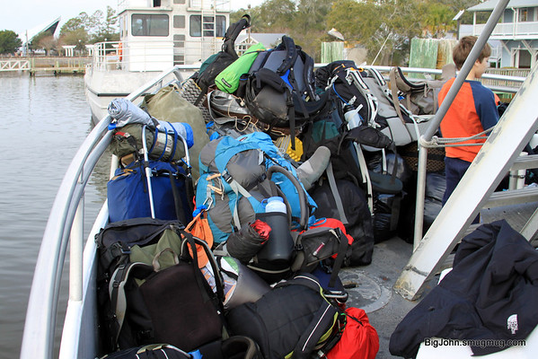 We had to put all the backpacks on the bow of the boat