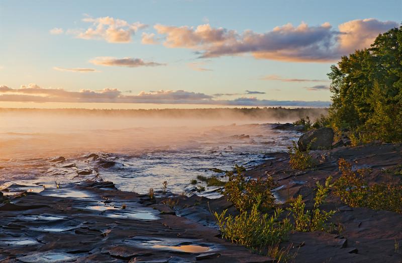Michigan's Lake Superior shoreline at dawn