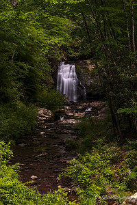 20th anniversary trip to Smokies & Pisgah Inn, May 14-22; Meigs Falls on Meigs Creek where creek flows into Little River in Great Smoky Mtns NP, viewed from pull-off area along Little River Rd to Cades Cove; falls are about 30 ft high