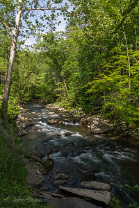 20th anniversary trip to Smokies & Pisgah Inn, May 14-22; Great Smoky Mtns NP streams have many cascades & rapids that make them very beautiful; these are in Little River, along Little River Rd to Cades Cove, very near Meigs Falls (same stop)
