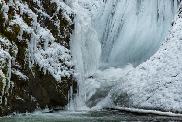 Ice at the foot of Bridal Veil Falls