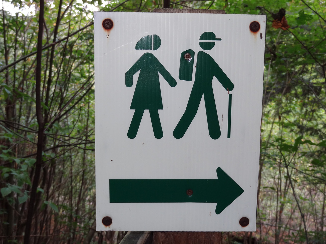 We traveled around a 1.5 mile nature trail back to the car. Anna did not like this clearly sexist sign showing the man carrying all the gear and the woman hiking in her skirt and babushka.