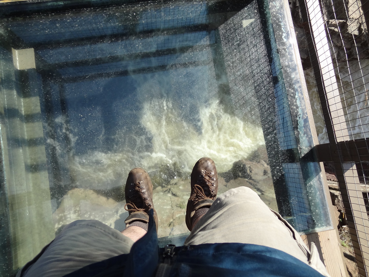 The walkway had a few plexiglass plates to stand on and risk your life. I had to do it. Rumor has it that no human being was ever brave enough to stand on the glass until I did it.