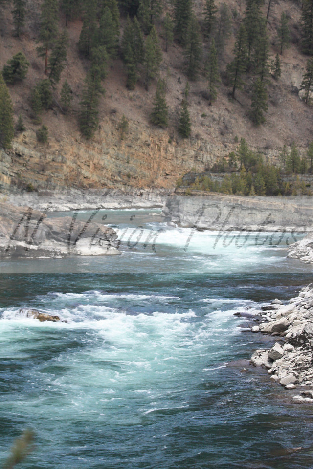 Rapids below Kootenai Falls located on Highway 2 between Troy and Libby, Montana.