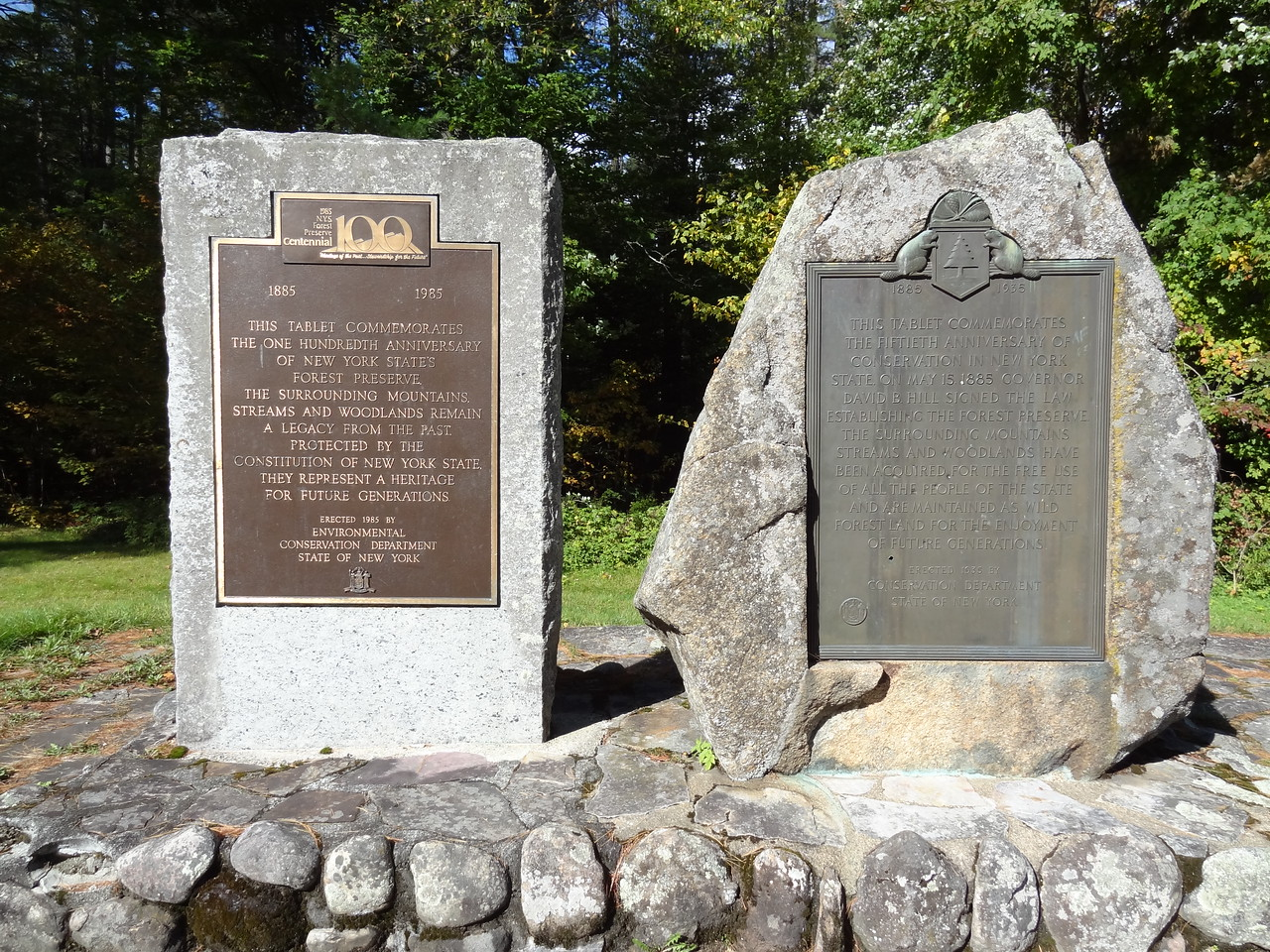 "The ""Monuments"" commemorating the protection of the Adirondack forest in the Constitution. Apparently, the only forest in the US protected by a state constitution."