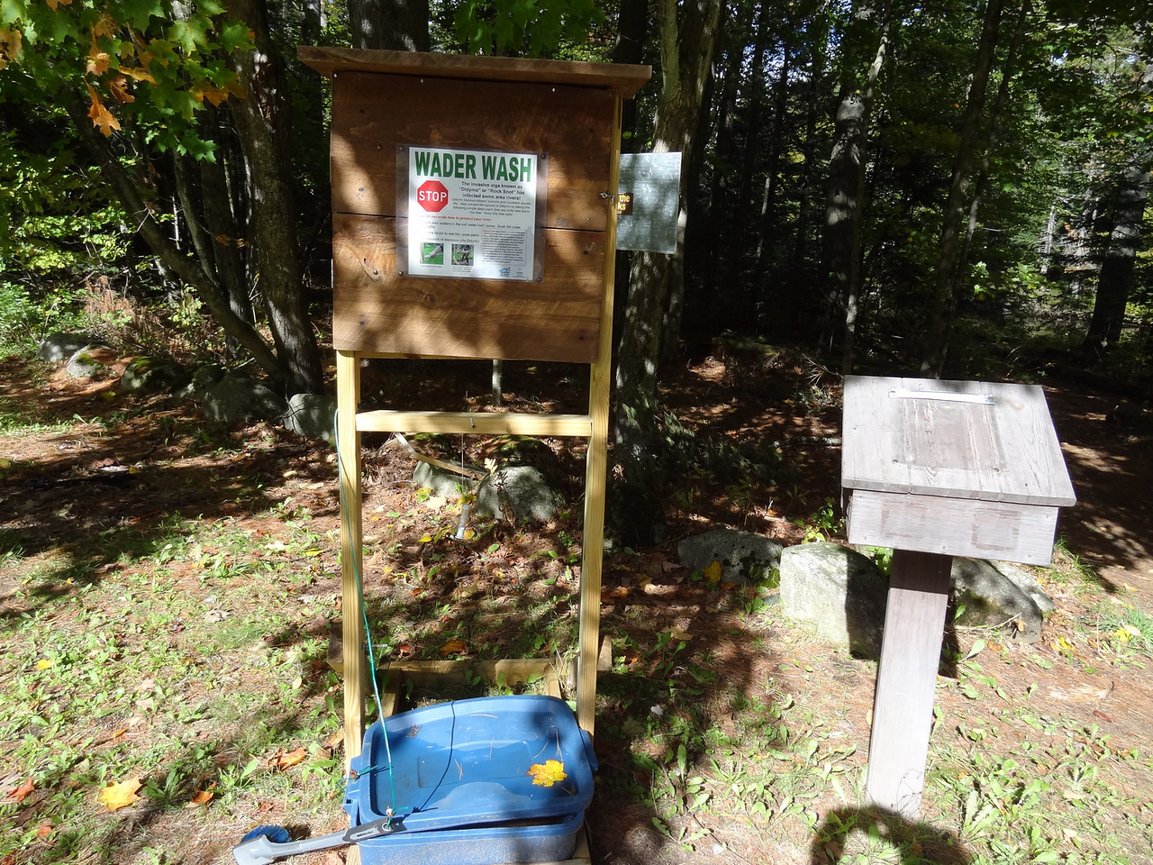 """Wader wash station to help stop the stream of dydimo, or """"rock snot""""."""