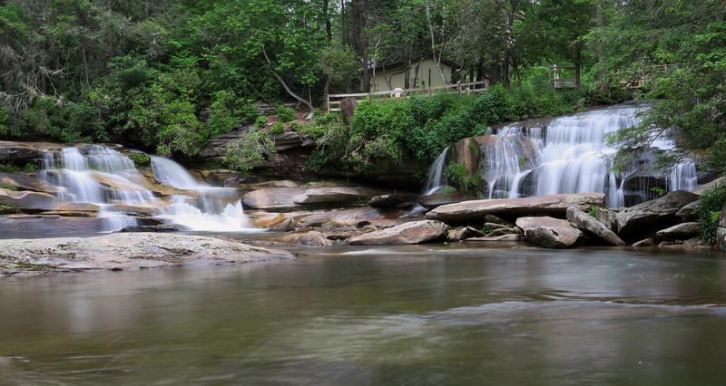 Mill Shoals Falls -- aka. French Broad (left) & Shoal Creek (right) Falls