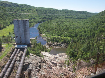 Montreal River power plant.  What are those vertical cylinders for?  Copyright 2011 Neil Stahl