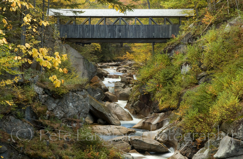 Liberty Gorge in Franconia Notch State Park, New Hampshire<br /> The Sentinel Pine Covered Bridge, over the Pemigiwasset River