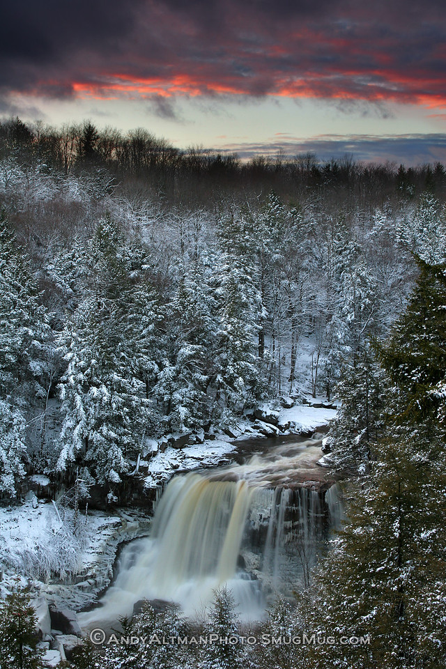 Blackwater Falls Winter Sunset