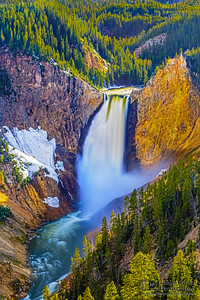 """""""Into the Mist,"""" Spring Runoff over Lower Yellowstone Falls, Yellowstone National Park"""