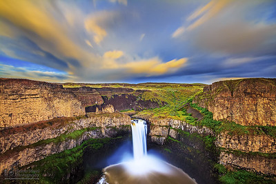 """Golden Channel,"" Golden Hour over Palouse Falls at Sunset, Palouse Falls State Park, Washington"